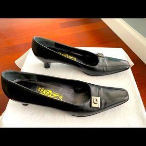 Ferragamo black kitten heels with silver hardware